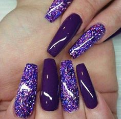 60 Purple Cute Nails Ideas For Winter. Today, we are going to tell you what does purple nail polish Dark Purple Nails, Purple Glitter Nails, Purple Acrylic Nails, Purple Nail Art, Purple Nail Designs, Sparkle Nails, Best Acrylic Nails, Summer Acrylic Nails, Fancy Nails