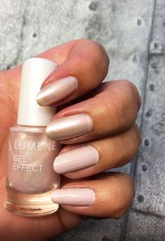 Blogger Funky and Fifty wearing Lumene Gel Effect nail polish in shades 45 Bright evening and 52 Luminosity. #nailpolish #lumene