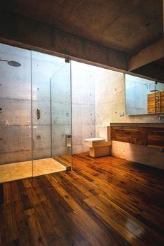 Hell yes. Wood floor in a bathroom.