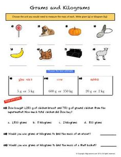 Worksheet | Grams and Kilograms | Understanding the metric unit of mass (weight).