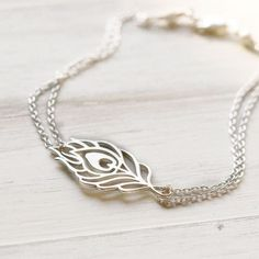 Silver Metal Feather Bracelet Sterling Silver Peacock by burnish, $32.00