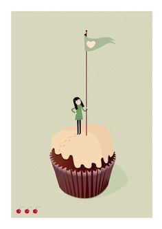 """on the summit of the cupcake"" print by sara olmos. cute art for the kiddies."