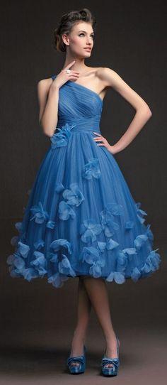 Grade Prom Dresses Blue Tulle One Shoulder A Line Knee Length Short Party Dress With Handmade Flowers Cheap Homecoming Dress Homecoming Dresses, Bridesmaid Dresses, Wedding Dresses, Prom Gowns, Bridesmaids, Dress Prom, Blue Dresses, Short Dresses, Formal Dresses