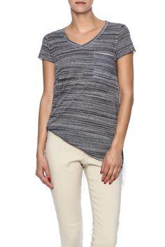 Sublimated front pocket tee with semi-sheer white longer back.  Striped Pocket Tee by Mystree. Clothing - Tops - Tees & Tanks Clothing - Tops - Short Sleeve Iowa