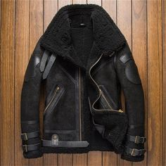 659800460 B3 Shearling Leather Jacket Mens Crack Texture Men s Collection