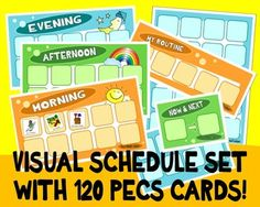 This set is perfect for the visual child! Includes morning, afternoon, and evening charts PLUS 2 now and next, 2 routine, 1 large size and 1 small size choice boards. It also comes with 120 assorted picture cards! Simply print and cut to size. Kids School Organization, Choice Boards, Evening Routine, Picture Cards, Latest Pics, Print And Cut, Tool Box, Teacher Pay Teachers, Counseling