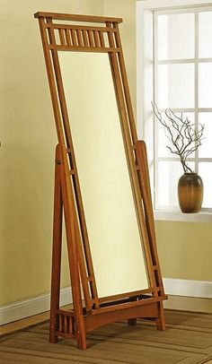 Mission Craftsman Cheval Standing Mirror (in light stain)