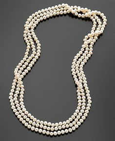"""Pearl Necklace, 100"""" Cultured Freshwater Pearl Endless Strand Necklace - Pearls - Jewelry & Watches - Macy's"""