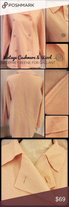 """Designer Cashmere vintage Wool Blend Lw Coat Amazing vintage soft pale pink to blush vCashmere Wool Blend double breasted coat. This is lightweight with side pockets and a flowing hemline. This is made by Geoffrey Beene for Gallant, an elegant and prestigious design. History:""""Frank Gallant, Inc. sold women's coats and suits to such stores as Saks, Lord & Taylor, Bloomingdale's, De Pinna, and Altman's.They held licenses for Cardin Coats starting in 1976, and also had the Geoffrey Beene for…"""
