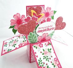 Mother's Day Pop Up Card - For My Wonderful Mother Card in a Box - Special Mother's Day Card or Mother Birthday Card - 3D Mother's Day Card