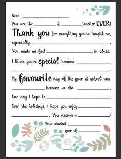 Dear Teacher Letter | Be A Fun Mum