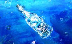 Download wallpapers mermaid, underwater, bottle, sea