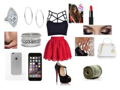 """""""christmas/christmas part outfit"""" by happynini ❤ liked on Polyvore featuring Christian Louboutin, NARS Cosmetics, MICHAEL Michael Kors, LA: Hearts, Michael Kors and GV2 by Gevril"""