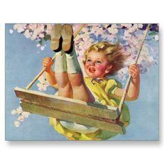 Vintage - little girl swinging