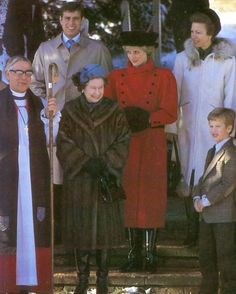 December 30, 1985: Princess Diana with the Royal family at Sandringham.