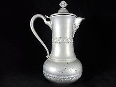 EG-Webster-amp-Sons-Quadruple-Silverplate-Ornate-Teapot-220-Antique