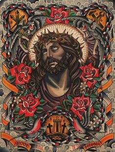 Religious Traditional Tattoos - Carry ON Traditional Tattoo Jesus, Traditional Lighthouse Tattoo, Traditional Tattoo Design, Traditional Tattoo Flash, Dope Tattoos, Tattoos For Guys, Leg Tattoos, Tattoo Sketches, Tattoo Drawings