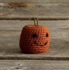 "DIY Jack-O-Lantern by lionbrand: About 2 1/2""tall. Free crochet pattern. #Crochet #Halloween #Pumpkin #Jack_O_Lantern"