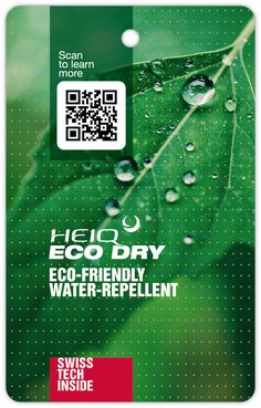 HeiQ Eco Dry is an innovative, eco-friendly and non-PFC based repellent textile technology that provides protection against water and water-based stains. Water Based Stain, Textiles, Eco Friendly, Innovation, Technology, Learning, Flyers, Label, Sewing