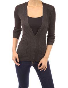 PattyBoutik V Neck Pocket Ribbed Zip Sweater Cardigan (Heather Dark Grey L)