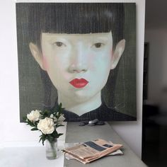Milano apartment interior Attasit Pokpong painting Thailandese artist  Lyngby vase and peonies  Ph. by Elena Resconi
