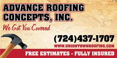 Driving on Route 51 North? Look for this new billboard I designed for Advance Roofing Concepts! #billboard #design #roofing #uniontown