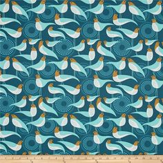 Joel Dewberry Modernist Perch Peacock from @fabricdotcom  Designed by Joel Dewberry for Free Spirit, this cotton print fabric features a modern approach to birds with simple silhouettes and bright colors. Perfect for quilting, apparel and home decor accents. Colors include light brown, white and shades of blue.