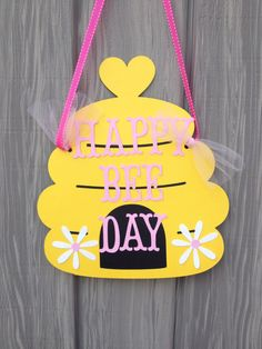 Bumble Bee Party Door Sign Bumble Bee Happy BEE Day by MiaSophias, $12.99