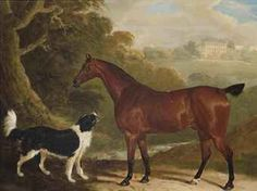 A chestnut hunter and Newfoundland dog in an extensive landscape, a country house beyond auctioned by Christie's