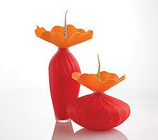 """Duo In Red by Bob Kliss and Laurie Kliss (Art Glass Sculpture) (13.5"""" x 7.5"""")"""