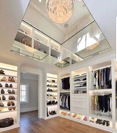 Two Story Interior Designs Closet Lighting Showcase your clothing and shoes in style with the top 50 best closet lighting ideas. Explore illuminated interiors featuring led strips to chandeliers. Dream Home Design, Home Interior Design, Interior Decorating, House Design, Luxury Interior, Walk In Closet Design, Closet Designs, Dressing Room Design, Dressing Rooms