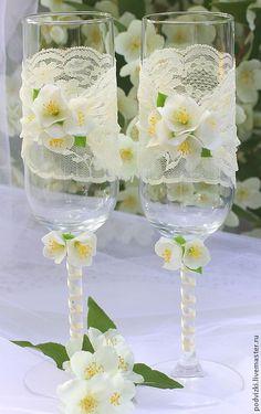 """Купить Свадебные бокалы Фужеры """"Дыхание лета"""" - Бокалы, бокалы для свадьбы, бокалы для молодоженов"""