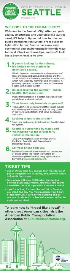 """Travel like a local"" in the Emerald City and take transit. Buses, streetcars, ferries and more!"
