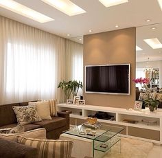 Home Decorating Style 2019 for Interiors For Tv Wall In Living Room, you can see Interiors For Tv Wall In Living Room and more pictures for Home Interior Designing 2019 at Best Home Living Room. Home Living Room, Living Room Designs, Living Room Decor, Tv Wall Design, House Design, Style At Home, Tv Wanddekor, Sala Grande, Muebles Living