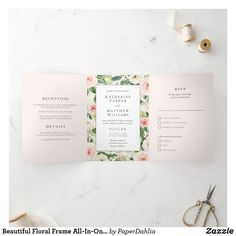 Monogram Wedding Invitations, Classic Wedding Invitations, Elegant Wedding Invitations, Wedding Invitation Cards, Letter Folding, Floral Save The Dates, Watercolor Wedding Invitations, Tri Fold, Frame