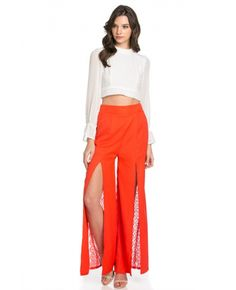 front split w lace back pants Package of 6 pieces: 3S, 2M, 1L per color only. Made In China