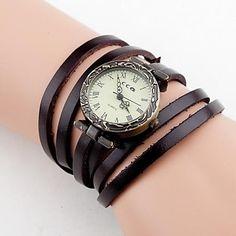 Mujeres Vintage largo del abrigo de cuero banda de cuarzo reloj de pulsera analógico (colores surtidos) - EUR € 9.45