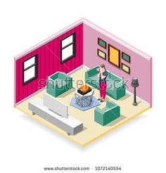 Stock Vector: Touching sleeping red cat and affected woman in home interior isometric composition vector illustration