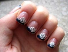 Wedding Nails, Bridal Nail Art Ideas - Bridal Nail Designs For Your Wedding Day. Invite glances on your bridal nails done by wedding nail art designers. Zebra Nail Designs, Bridal Nails Designs, Bridal Nail Art, Short Nail Designs, Nail Designs Spring, Wedding Nail, Fingernail Designs, Rose Nail Art, Rose Nails