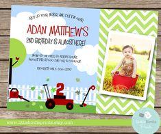 LAWN MOWER Birthday Invitation Party Chevron by littlebirdieprints, $15.00