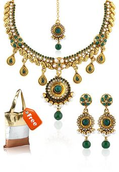 Green Necklace Set  With Free Handbag #MyYDHDLook