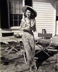 40s casual fashion vintage pants shirt day wear hat shoes found photo girl