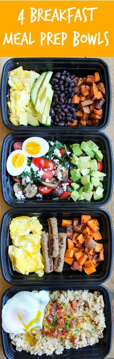 Make-Ahead Breakfast Meal Prep Bowl Recipes: 4 Ways - these healthy breakfast recipes can be made ahead of time for quick breakfasts on-the-go!