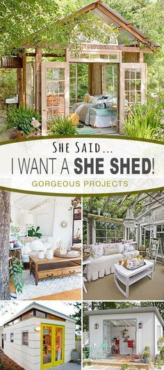 Awesome SHE SHED ideas and projects! - Check out this post on fabulous She Shed DIY tutorials projects and inspiring ideas! Awesome SHE SHED ideas and projects! - Check out this post on fabulous She Shed DIY tutorials projects and inspiring ideas! Outdoor Spaces, Outdoor Living, Gazebo, Shed Kits, Storage Shed Plans, Diy Storage, Corner Storage, She Sheds, Shed Design