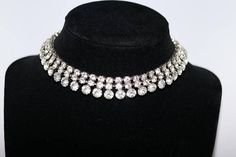 Vintage 3-row Rhinestone choker/necklace 15 long