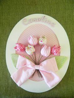 Enfeite de porta - Oval grande Rosa