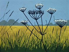 Field ARTFINDER: Golden Field by Alexandra Buckle - A reduction linocut of a field of gold with cow parsley growing at the edge. The gold ink in this print is slightly metallic. A reduction print is a relie.GOLD GOLD may refer to: Illustrations, Illustration Art, Lino Art, Linoprint, Wood Engraving, Abstract Landscape, Landscape Watercolour, Linocut Prints, Woodblock Print
