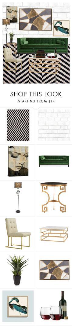 """Modern Retro Living Room"" by muzique-notez ❤ liked on Polyvore featuring interior, interiors, interior design, home, home decor, interior decorating, NOVICA, Tempaper, iCanvas and Jonathan Adler"
