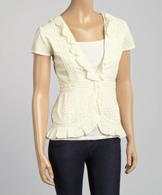 Look at this Cream Lace Cap-Sleeve Top on #zulily today!
