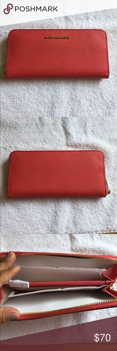Michael Kors Wallet Brand new with tags!!! 💯 % AUTHENTIC!!! Watermelon color! Michael Kors Bags Wallets